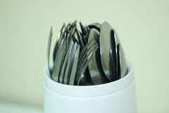 Cucchiai e forchette Fotografia Stock
