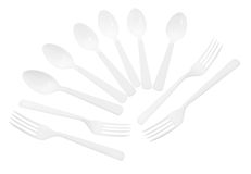 Cucchiai e forchette di plastica Fotografia Stock Libera da Diritti
