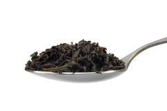 Cucchiaino da tè con la foglia di tè del nero scuro isolata Fotografia Stock Libera da Diritti