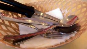 Cucchiaio, coltello e forchetta Fotografie Stock