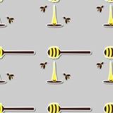 Cucchiaio con Honey And Bees Immagine Stock Libera da Diritti
