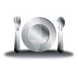 Cucchiaio d'argento del piatto della forcella Immagini Stock Libere da Diritti