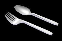 cucchiaio 3D e forchetta di plastica illustrazione vettoriale