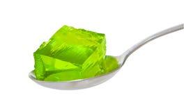 Cucchiaio di gelatina verde fotografie stock libere da diritti