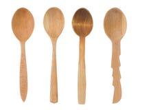 Cucchiaio di legno come utensili su bianco Fotografia Stock Libera da Diritti