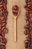 Cucchiaio di legno con la data Fotografia Stock