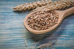 Cucchiaio di legno del grano della segale dei grani dorati delle orecchie sul bordo di legno d'annata Fotografie Stock