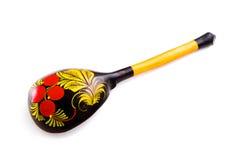 Cucchiaio di legno dell'utensile. Isolato su priorità bassa bianca Fotografia Stock