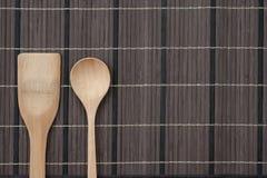 Cucchiaio di legno su struttura di legno Fotografie Stock Libere da Diritti