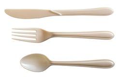Cucchiaio di plastica bianco della forcella N Fotografia Stock