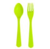 Cucchiaio di plastica e forchetta verdi isolati immagini stock