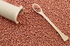 Cucchiaio e becher del laboratorio della porcellana sui fertilizzanti minerali Fotografia Stock