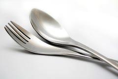 Cucchiaio e forchetta Fotografie Stock