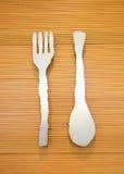 Cucchiaio e forchetta Fotografia Stock