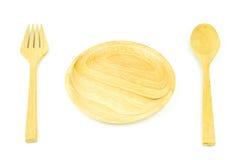 cucchiaio e forchetta del piatto su fondo bianco Fotografie Stock