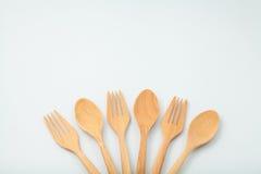 Cucchiaio e forchetta di legno Fotografia Stock