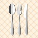 Cucchiaio, forchetta e lama Fotografia Stock