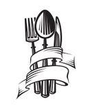 Cucchiaio, forchetta e lama illustrazione vettoriale