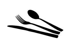Cucchiaio, lama e forchetta Fotografie Stock Libere da Diritti