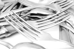 Cucchiaio, lama e forchetta Immagine Stock