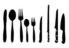 Cucchiaio, lama e forchetta   Fotografia Stock