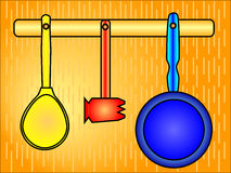 Cucchiaio, martello e vaschetta di frittura Immagine Stock Libera da Diritti