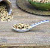 Cucchiaio tradizionale, riso Fotografia Stock