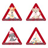 Cuccioli a bordo del segno Fotografia Stock