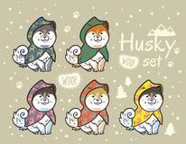 Cuccioli del husky messi in impermeabili variopinti Illustrazione di vettore del fumetto Fotografie Stock Libere da Diritti