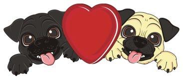 Cuccioli felici con un cuore rosso Fotografia Stock Libera da Diritti