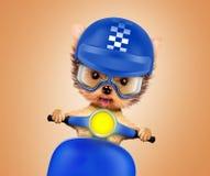 Cucciolo adorabile che si siede su una motocicletta Fotografia Stock Libera da Diritti