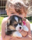 Cucciolo amoroso della ragazza alla morte Fotografia Stock