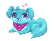 Cucciolo blu sveglio con capelli lunghi Fotografia Stock