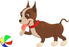 Cucciolo che gioca con una palla, illustrazione del bulldog del personaggio dei cartoni animati Immagine Stock