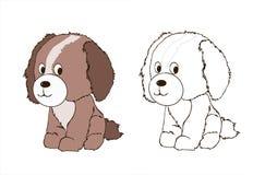 Cucciolo di cane amichevole sveglio, animale canino, regno animale, illustrazione, emblema della testa di cane, libro da colorare illustrazione di stock