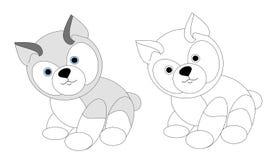 Cucciolo di cane amichevole sveglio, animale canino, regno animale, illustrazione, emblema della testa di cane, libro da colorare royalty illustrazione gratis