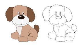 Cucciolo di cane amichevole sveglio, animale canino, regno animale, illustrazione, emblema della testa di cane, paiting, libro da illustrazione vettoriale