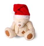 Cucciolo di orso con un cappuccio di Santa Claus Immagine Stock