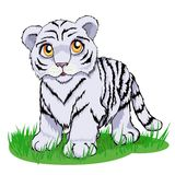 Cucciolo di tigre bianco sveglio con gli occhi gialli luminosi illustrazione vettoriale