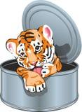 Cucciolo di tigre nel barattolo di latta illustrazione di stock