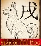 Cucciolo disegnato a mano per il nuovo anno cinese del cane, illustrazione di vettore illustrazione di stock
