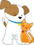 Cucciolo e gatto svegli Fotografia Stock Libera da Diritti