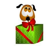 Cucciolo per il regalo di natale con l'arco illustrazione vettoriale