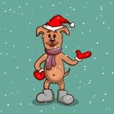Cucciolo in stivali sul fondo di Snowy Immagine Stock Libera da Diritti