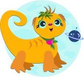 Cucciolo straniero della lucertola con il pianeta viola Fotografia Stock Libera da Diritti