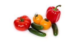 Cucembers das pimentas dos omatoes do vermelho e do yellowt Foto de Stock