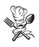 Cuchara, bifurcación y cocinero Foto de archivo