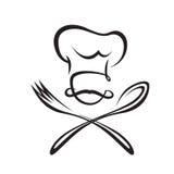 Cuchara, bifurcación y cocinero Imagen de archivo libre de regalías