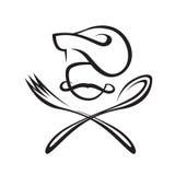 Cuchara, bifurcación y cocinero Fotografía de archivo libre de regalías