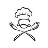 Cuchara, bifurcación y cocinero Imagenes de archivo